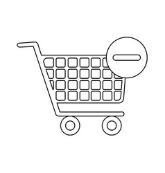 monochrome contour with shopping cart and minus vector image