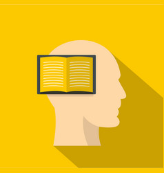 Open book inside a man head icon flat style vector