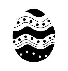 black contour egg easter decoration design vector image