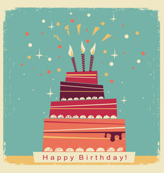 birthday sweet cakeretro card on old paper vector image