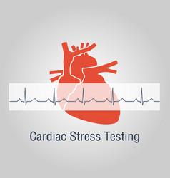 Cardiac stress testing logo icon design vector