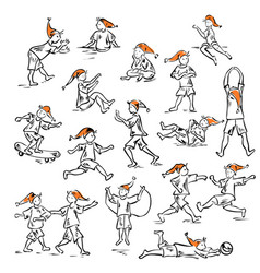 Little man in motion and various poses vector