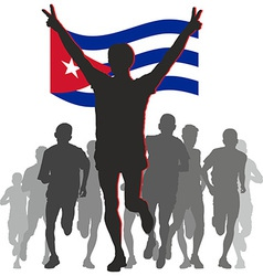 Athlete with the cuba flag at the finish vector
