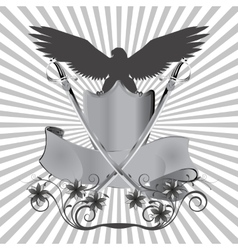 Background eagle on shield with swords and flowers vector