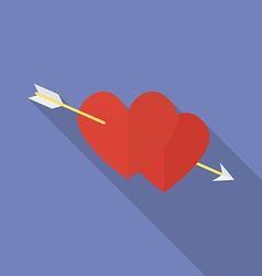 Hearts with an arrow flat style icon vector