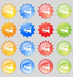 Megaphone soon loudspeaker icon sign big set of 16 vector