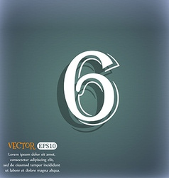 Number six icon sign on the blue-green abstract vector