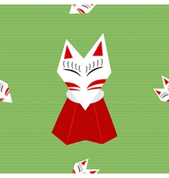 Inari fox green background vector