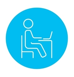 Student sitting on chair in front of laptop line vector