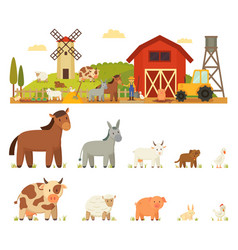 animal farm white background vector image vector image