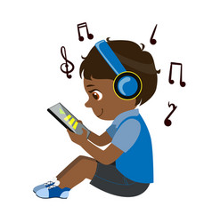 boy reading text from tablet and listening to vector image