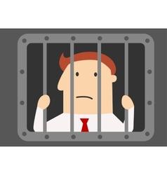 Cartoon businessman prisoner in jail vector