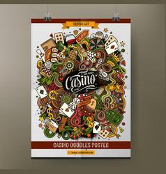 Cartoon hand drawn doodles casino poster template vector