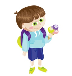 Cartoon school boy with icecream vector image vector image