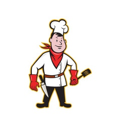 Chef Cook Standing Holding Spatula vector image vector image