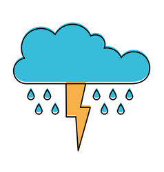 Cloud with rain and thunderbolt in watercolor vector