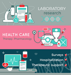 Flat healthcare horizontal banners vector