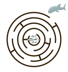 Game labyrinth find a way shark vector