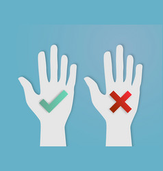 hands vote yes and no paper art vector image vector image
