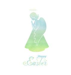happy easter watercolor card vector image vector image