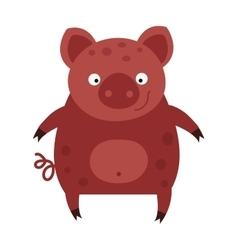 Happy smiling little baby cartoon pig animal farm vector