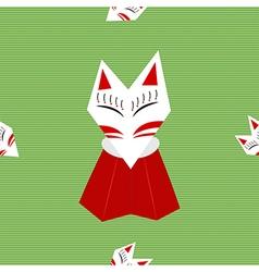 Inari fox green background vector