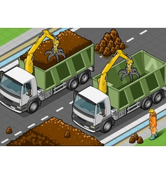 Isometric Containers Trucks with Arm vector image vector image