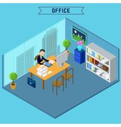Modern office interior isometric building vector