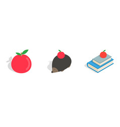 red apple icon set isometric style vector image vector image