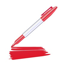 red marker drawing on the sheet of paper vector image