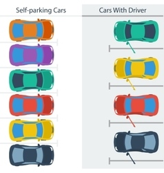 Scheme parking normal cars and self-driving ones vector