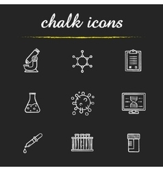 Science laboratory tools chalk icons set vector