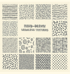 Set of hand drawn marker and ink seamless patterns vector