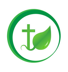 The logo is a sprout of faith vector