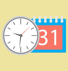 Time planning clock with calendar date vector image
