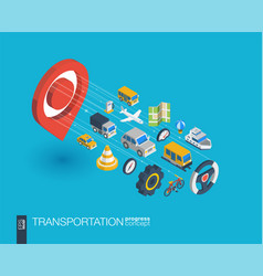 transportation integrated 3d web icons growth and vector image