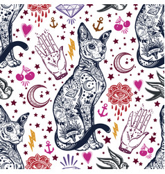 Vintage cat traditional tattoo seamless pattern vector