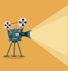 Yellow background with movie projector vector