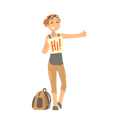 Young woman standing with a sign hitchhiking and vector