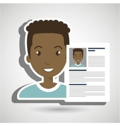Cv resume man icon vector