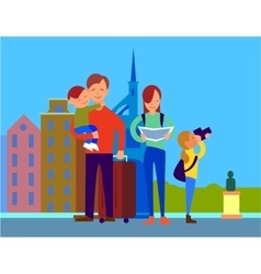 Traveling with family flat design concept vector