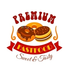 Sweet and tasty donut and cake fast food emblem vector