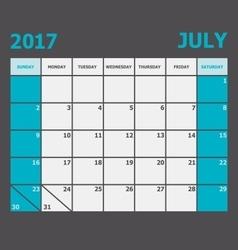 July 2017 calendar week starts on sunday vector