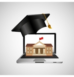 Online education concept college building vector