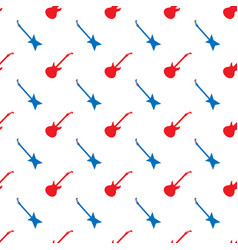 red blue guitar silhouettes seamless pattern vector image