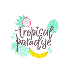 Summer design sticker with tropical beach elements vector
