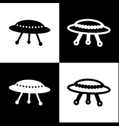 Ufo simple sign  black and white icons and vector
