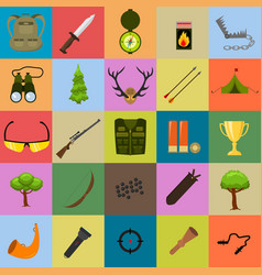 Flat color hunting icons set isolated vector