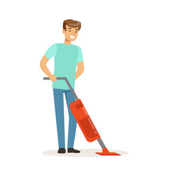 Young smiling man cleaning the floor with steam vector