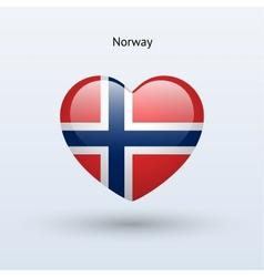 Love Norway symbol Heart flag icon vector image